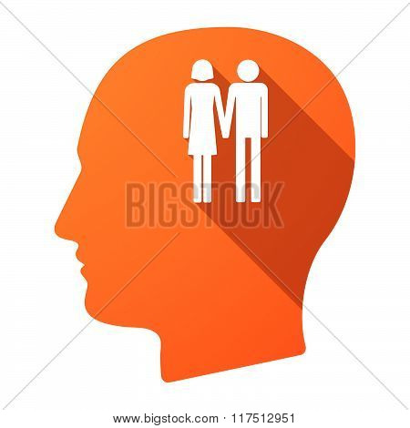 Long Shadow Male Head Icon With A Heterosexual Couple Pictogram