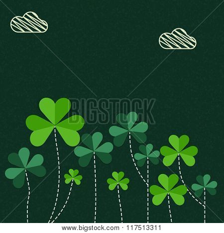 Elegant greeting card design decorated with beautiful Shamrock Leaves for Happy St. Patrick's Day celebration.