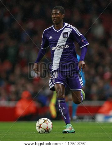 LONDON, ENGLAND - NOV 04 2014: Chancel Mbemba of Anderlecht during the UEFA Champions League match between Arsenal from England and Anderlecht from Belgium played at The Emirates Stadium.