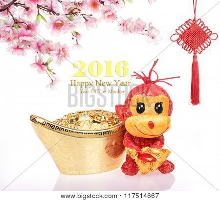 2016 is year of the monkey,toy of monkey with decoration