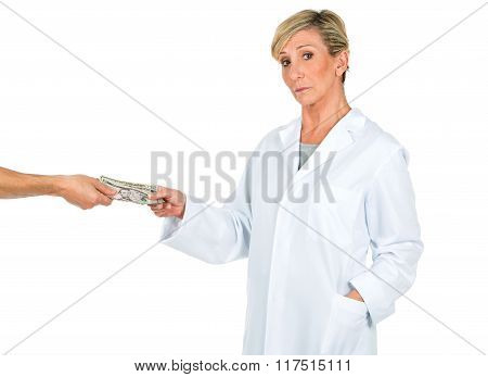 Doctor Woman Receiving Money From A Person