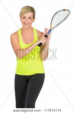 Middle Aged Woman Holding Squash Racket