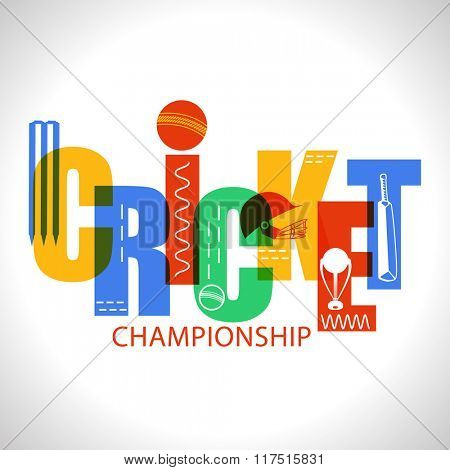 Creative colorful text Cricket with other equipments on shiny grey background.