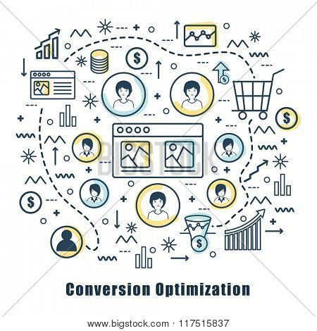 Creative Infographic elements for Conversion Optimization concept.