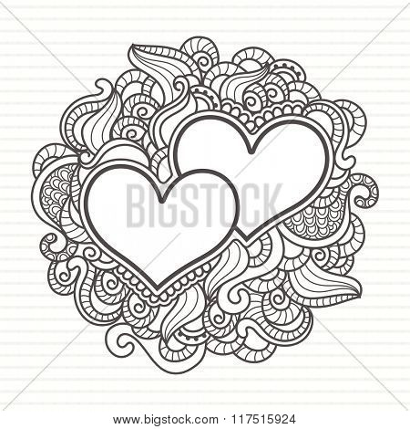 Happy Valentine's Day celebration with floral decorated greeting card, hearts and space for your message.