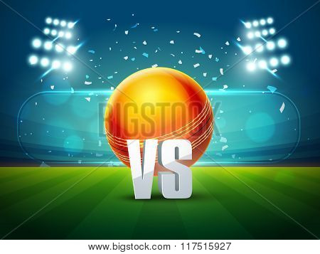 Cricket Match schedule concept with illustration of glossy ball on stadium lights background.