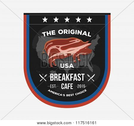 Vector invitational sign board for cafe in  Presidents Day style. Fast food logo label with creative