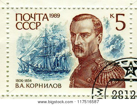 GOMEL,BELARUS - FEBRUARY 2016:A stamp printed in USSR shows image of the Vice Admiral Vladimir Alexeyevich Kornilov was a Russian naval officer who took part in the Crimean War, circa 1989.