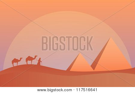 Vector illustration of landscape in savanna, Camel caravan at pyramids in sunset.  Scenic view of de