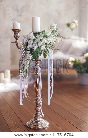 Romantic Wedding Flower Bouquet With Candlestick