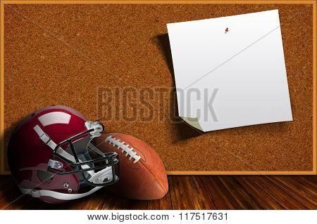 Football Equipment And Cork Board Background