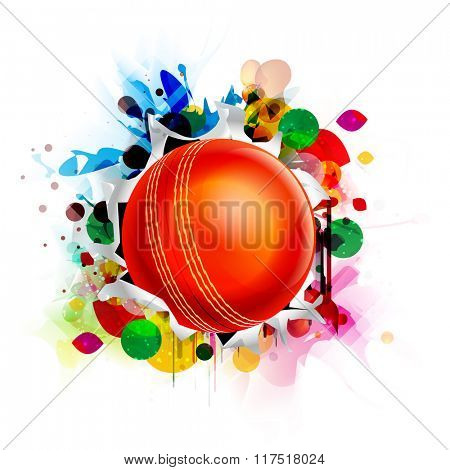Glossy red Ball on colorful abstract background for Cricket Sports concept.