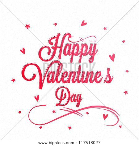 Elegant greeting card design with stylish text Happy Valentine's Day on hearts and stars decorated background.
