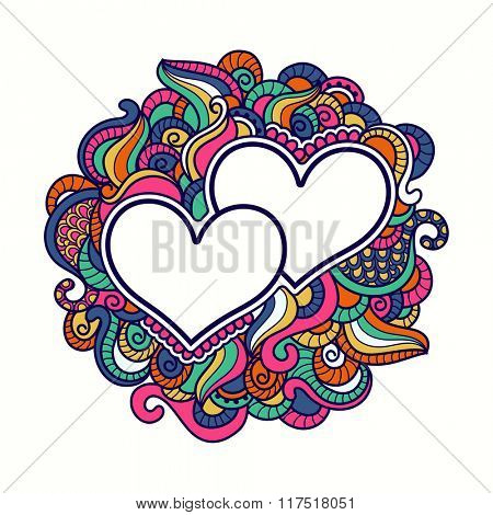 Happy Valentine's Day celebration with colorful floral design decorated greeting card, hearts and space for your message.