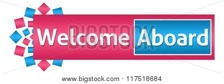 Welcome Aboard Pink Blue Circular Horizontal
