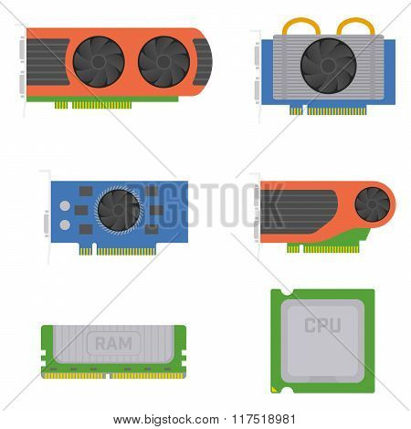 Computer elements - graphics cards, RAM, processor. Vector set.
