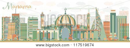 Abstract Manama Skyline with Color Buildings. Business Travel and Tourism Concept with Modern Buildings. Image for Presentation Banner Placard and Web Site.