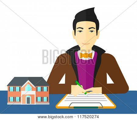 Real estate agent signing contract.