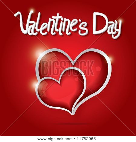 Red Hearts Valentine day background. Love concept with glossy hearts and white text. Valentine day card.