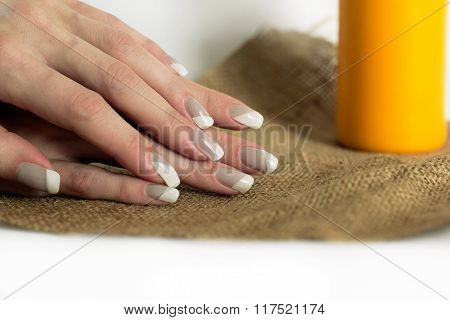 Grey With White Nail Asymmetry Art Manicure