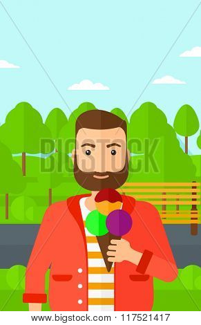 Man holding icecream.