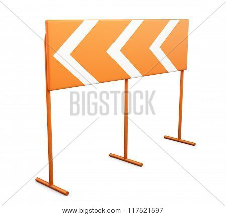 Warning sign dangerous turn on a white background. 3d rendering