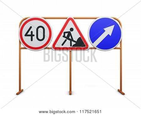 Speed limit, repair work, detour road signs on a white backgroun