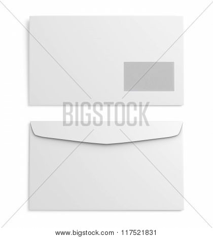 Two white paper envelope on white background. 3d rendering