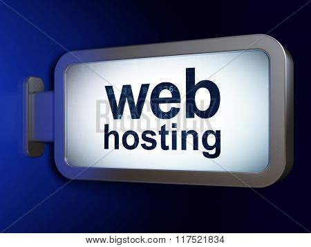 Web development concept: Web Hosting on billboard background