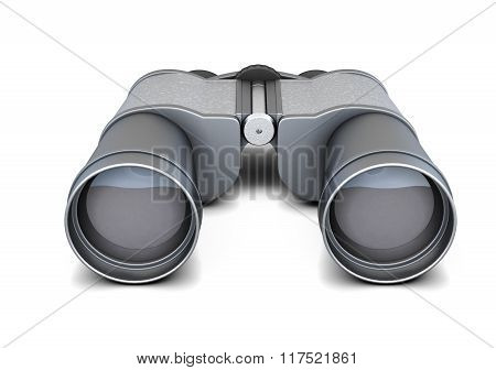 Black binoculars isolated on white background. 3d rendering