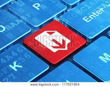 Web development concept: Download on computer keyboard background