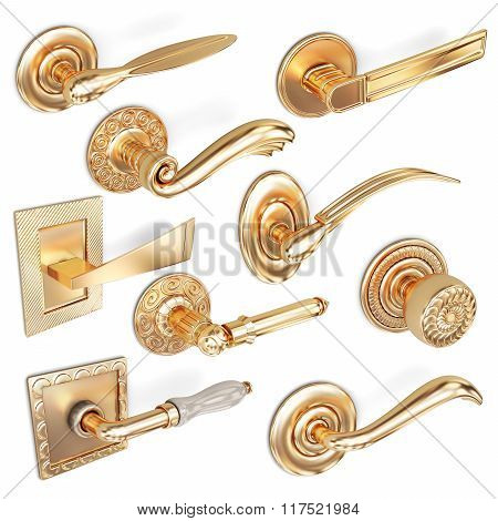 3d set of door handles on a white background