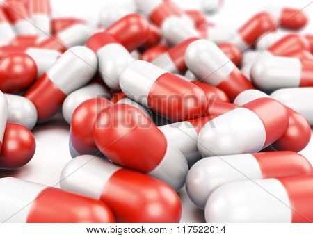Pills closeup isolated on white background. 3d render image