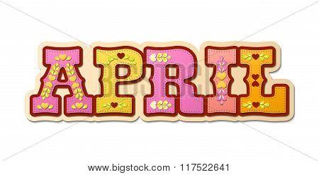 April, illustrated name of calendar month, illustration