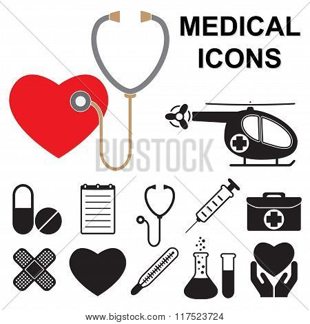 Medical icons set isolated on white background. Design elements for medicine design. Vector illustra