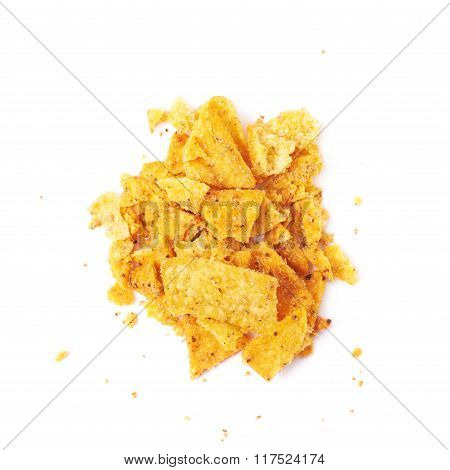 Pile of chips crumbles isolated