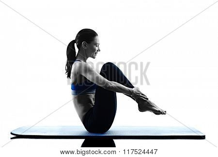 woman pilates exercises fitness isolated
