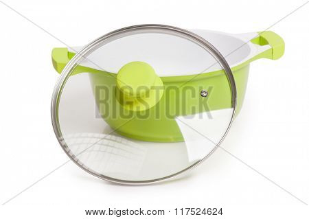 Green pot with lid isolated on white background