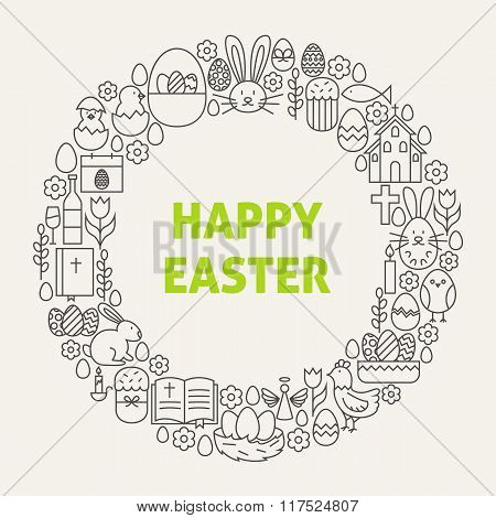 Happy Easter Line Art Icons Set Circle