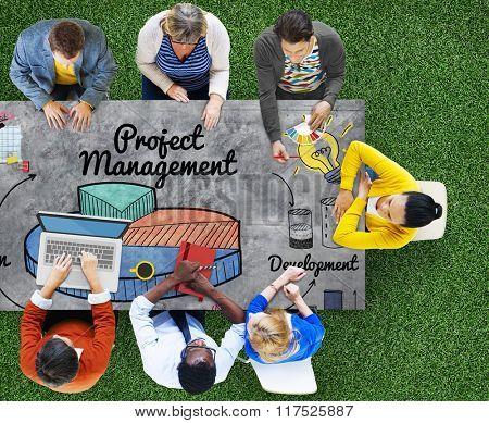 Project Management Ideas Development Graph Concept