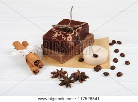 Spa treatment with coffee handmade soap and spices