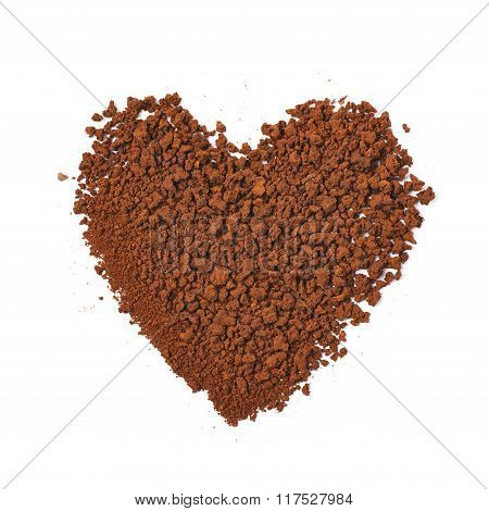 Heart made of instant coffee