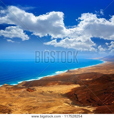 Jandia west beaches aerial of Fuerteventura at Canary Islands Spain