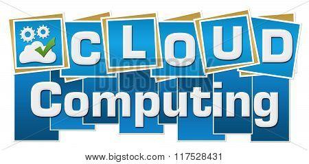Cloud Computing Blue Squares Text Bottom