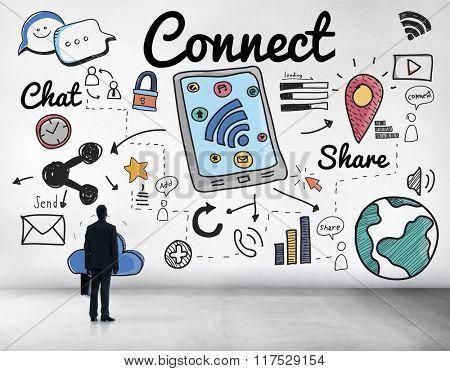Connect Social Media Social Networking Concept