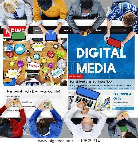 Digital Media Network Multimedia Technology Concept