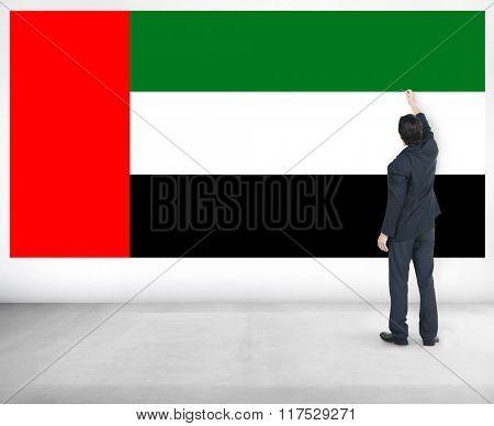 Businessman UAE National Flag Pride Concept