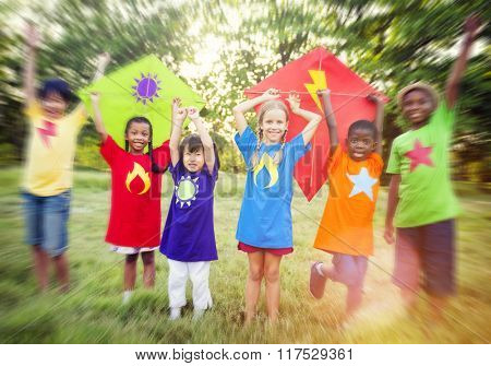 Playing Playful Superheroes Summer Group Kids Concept