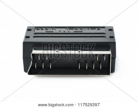 Male SCART AV adaptor isolated