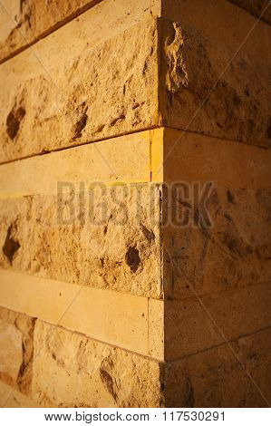 Element Of The Old Stone Facade Angle House Close Up